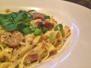 Carbonara with O'Flynn's Garlic & Herb Sausages